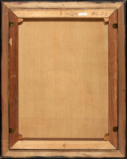 Verso view of back original stretcher bars and canvas, showing Louis K. Meisel Gallery stamp.