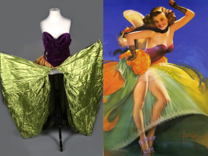 """Jewel Flowers' gown next to """"One The Beam"""""""