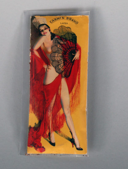 Carmen Brand Latex Condom with the image C. 1930s included in sale