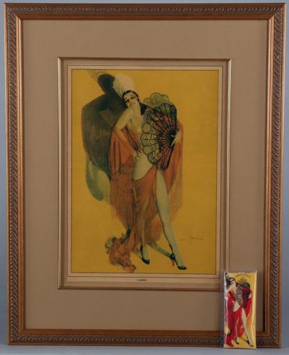 Vintage print of artwork included in sale.