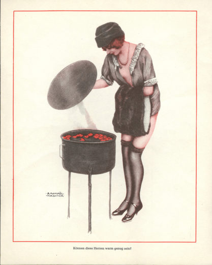 The image as it appeared in publication with caption in German (included in sale)