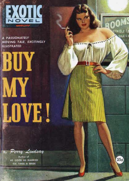 The artwork as it appeared as the December, 1949 cover for Exotic Novel Magazine (included in sale)