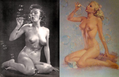"""The artist posed for and the completed Brown & Bigelow Print """"Bubbles""""."""