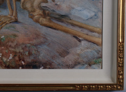 The artist's signature lower right and frame corner profile