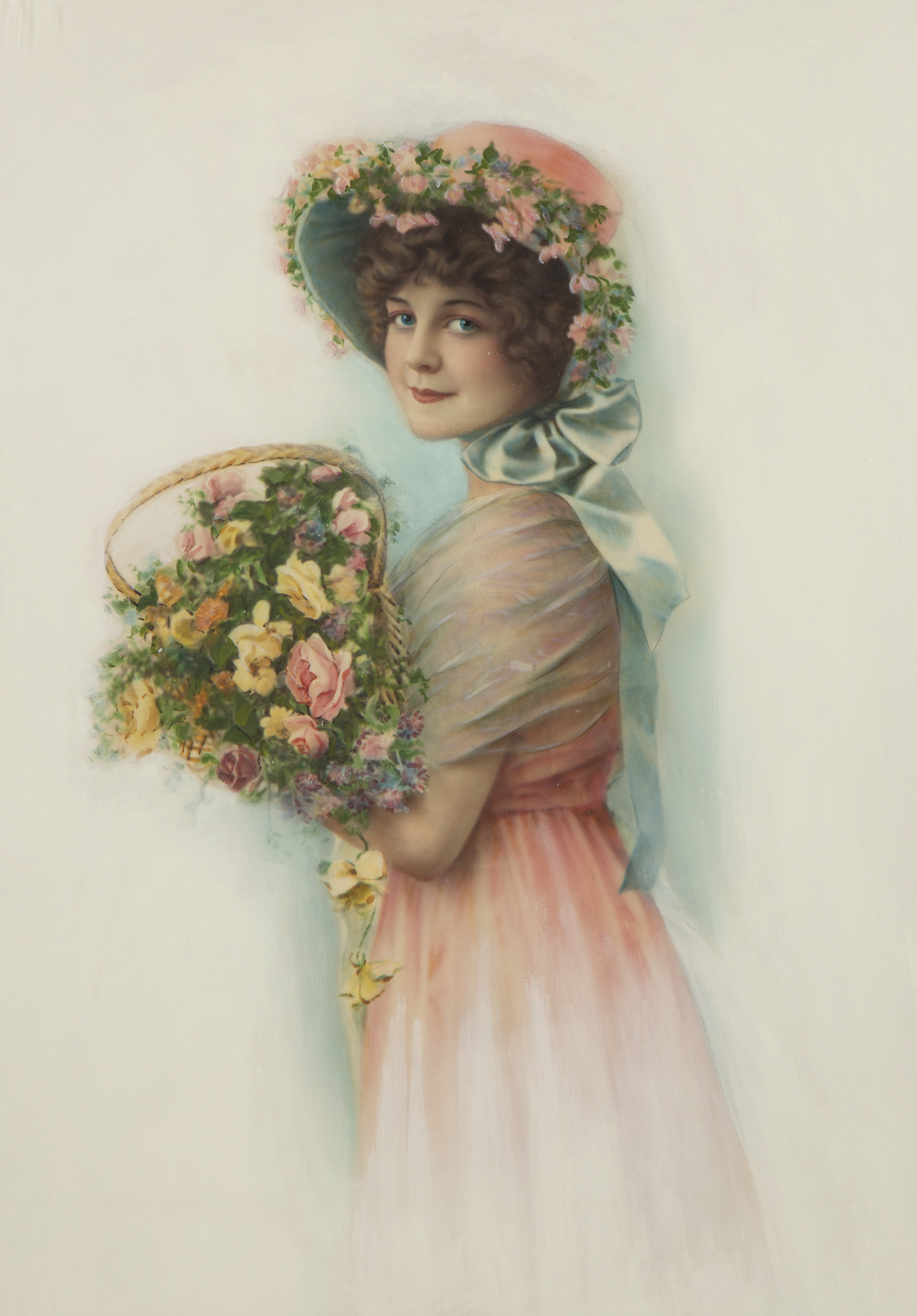 Full view of mixed media on illustration board featuring an Edwardian maiden holding a bouquet of flowers