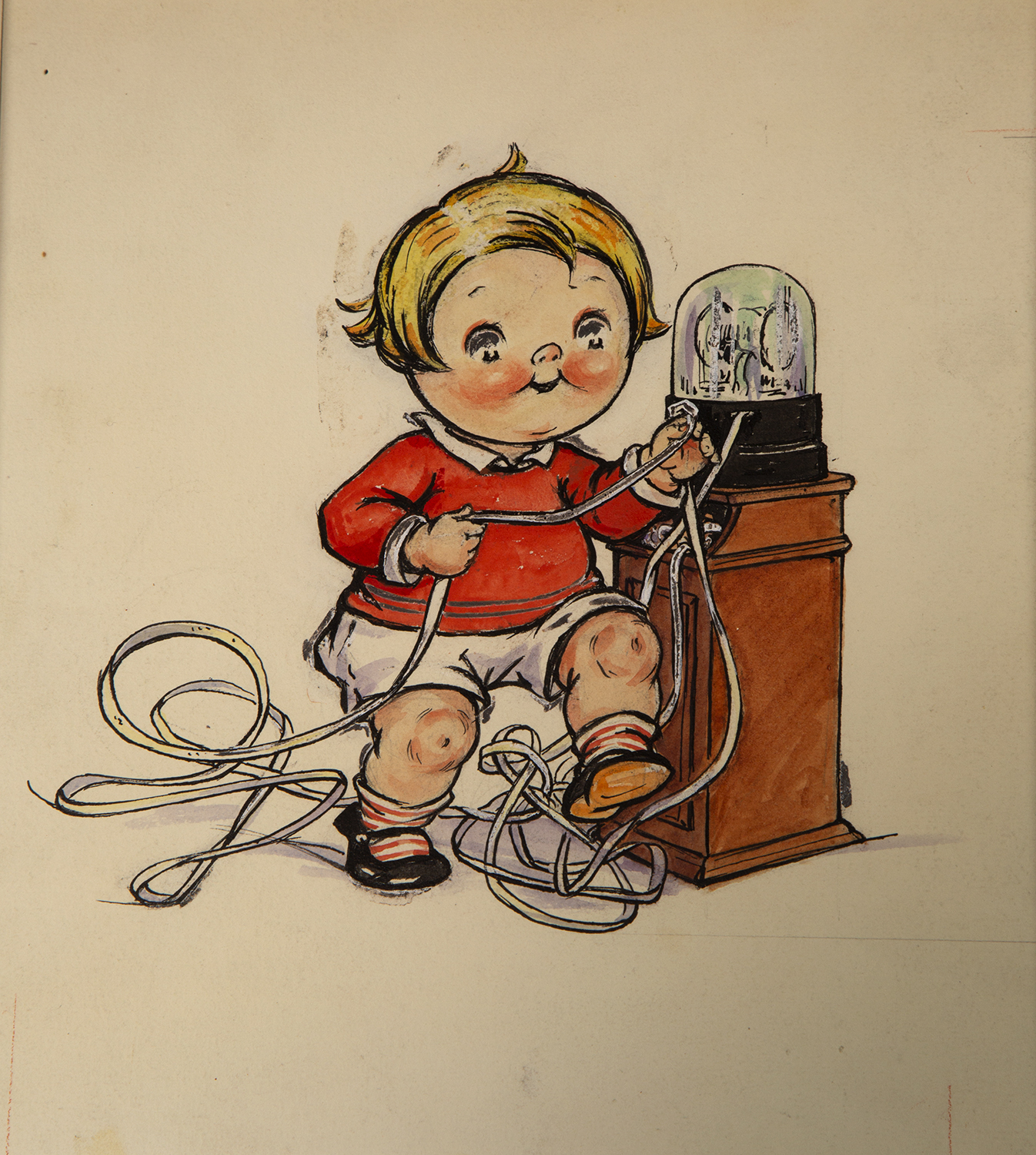 A Campbell's Soup Kid reads the latest stock news from a glass domed stock ticker machine.