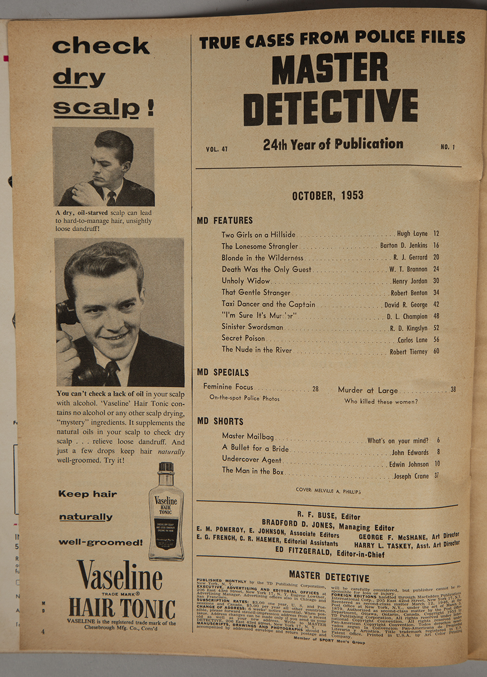 Table of contents page from the October 1953 issue of Master Detective magazine crediting the cover artist