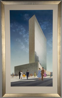 Framed artwork with a mid century view of the United Nations, figures standing in foreground