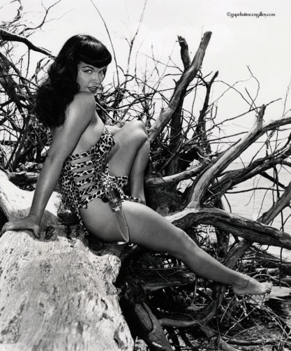 Bettie Page with Knife Seated on Driftwood - Detail View