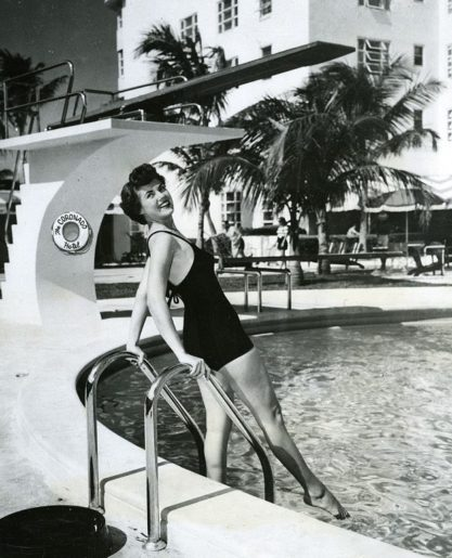 Bunny Yeager Poses by the Coronado Pool