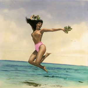 Hand Colored Bettie Page Beach Frolic