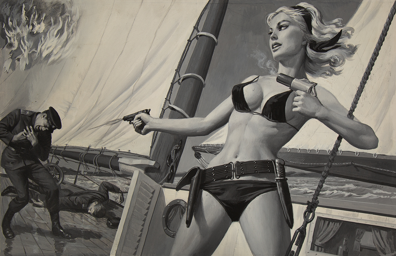 Woman in a bikini on a boat shooting a pistol with one hand and holding a flare gun in the other
