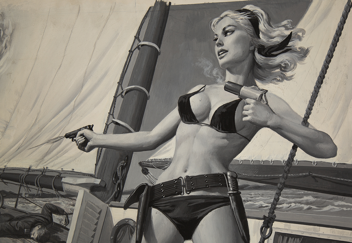 Detail view of a blonde in a bikini holding a gun in one hand and a flare gun in the other