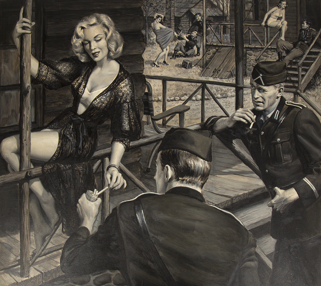 Gouache illustration by Samson Pollen titled Germany's Fräulein Camps