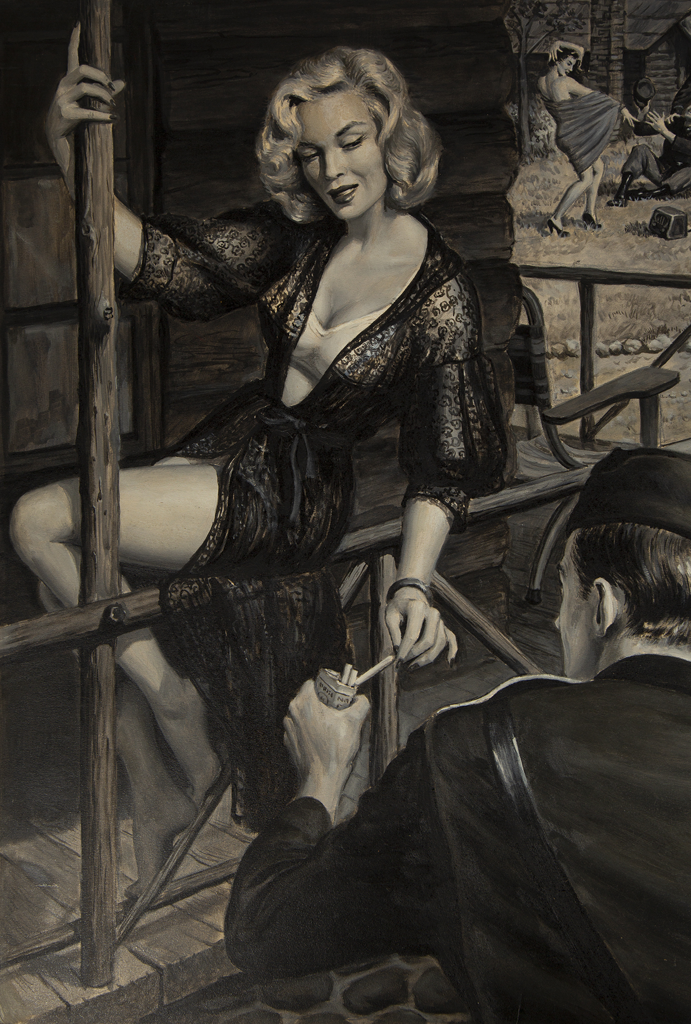 A risqué, robed woman takes a cigarette from a soldier