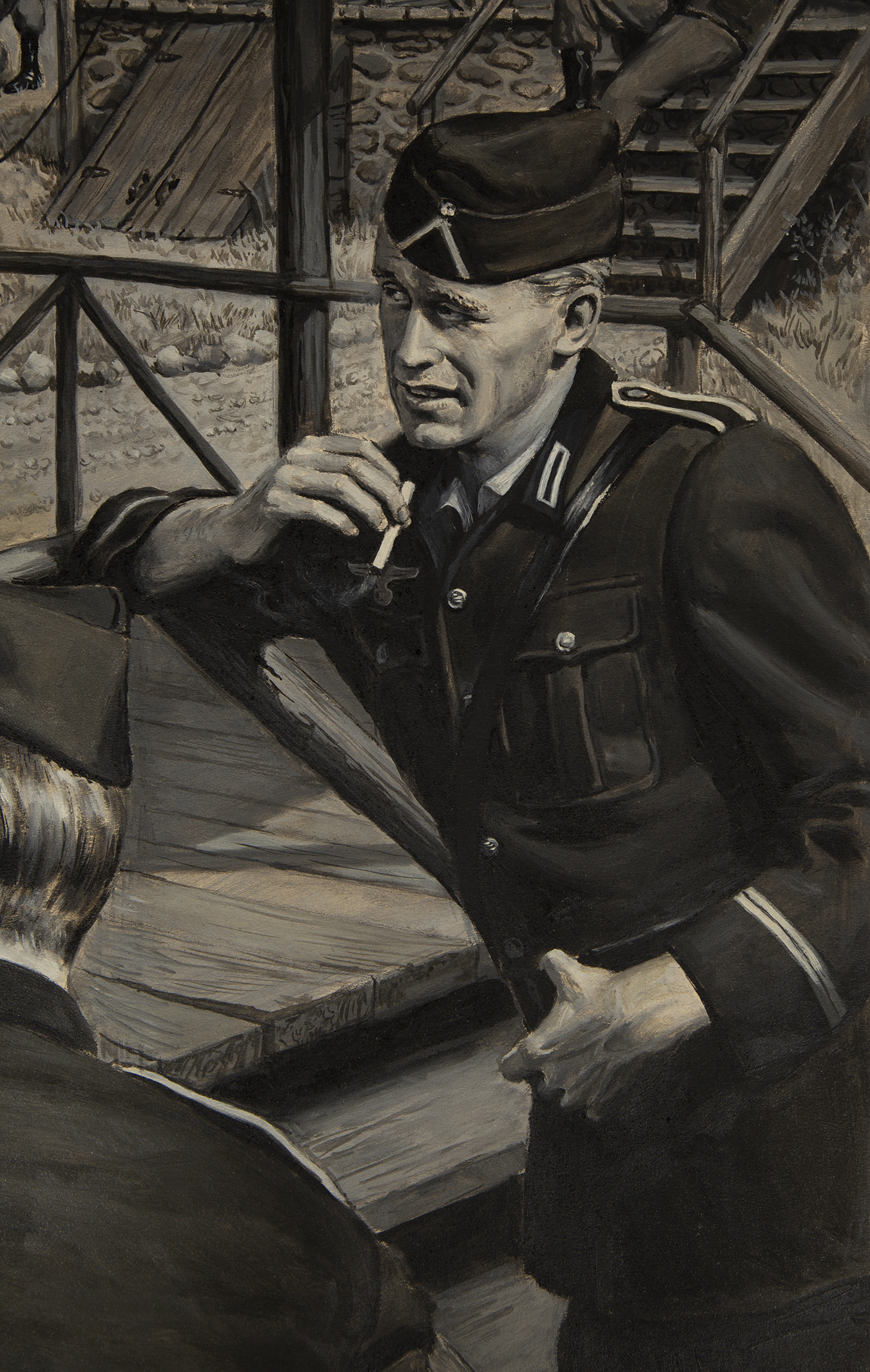 A leering soldier smoking a cigarette