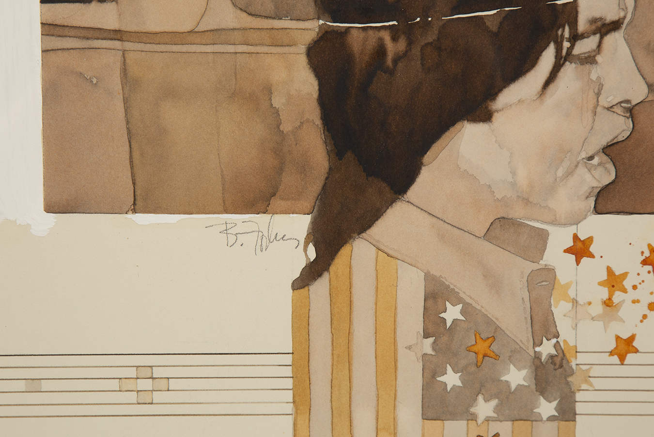 Detailed view of watercolor illustration showing the artist's signature