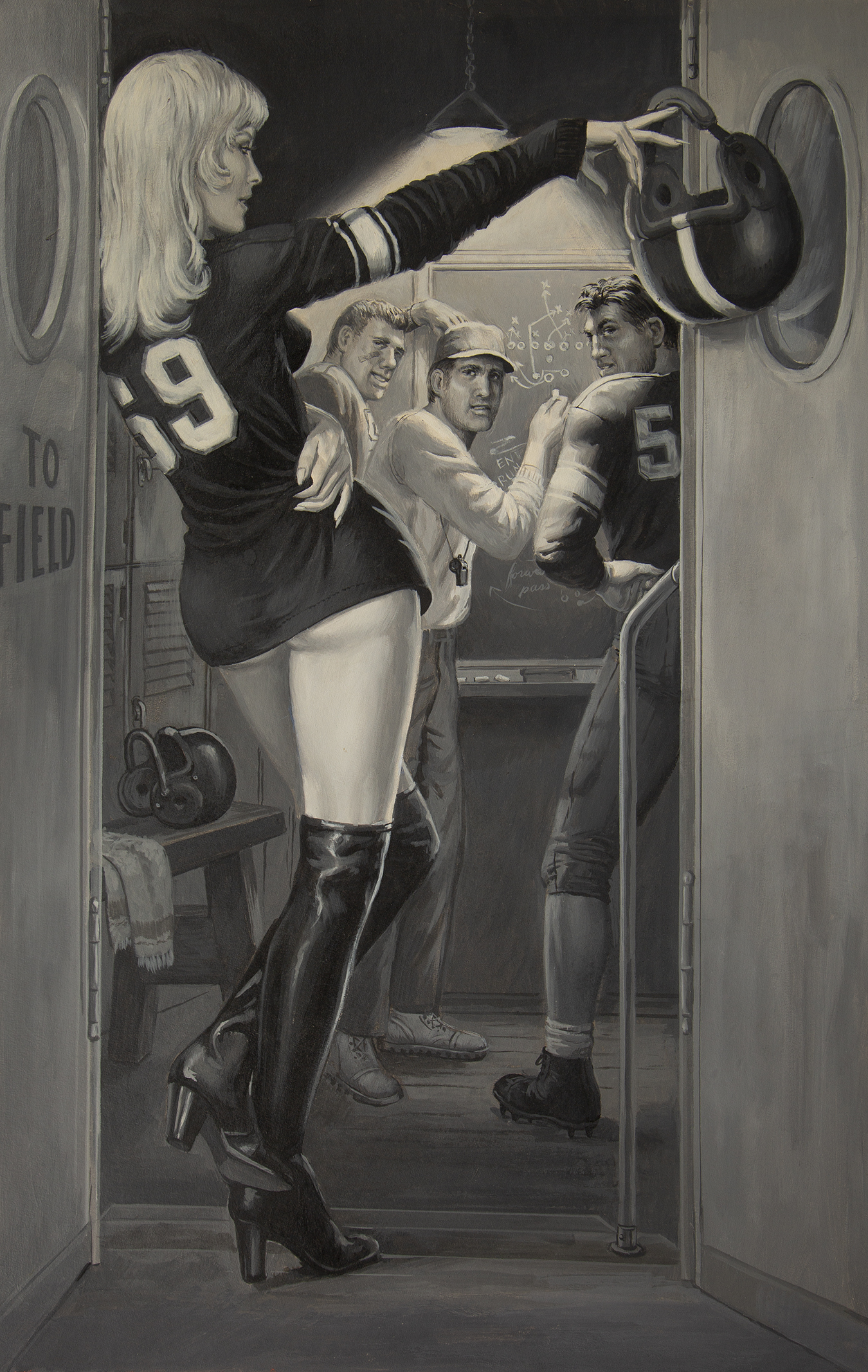 Samson Pollen illustration of a sexy pin-up girl in a football jersey flirting with players in the locker room