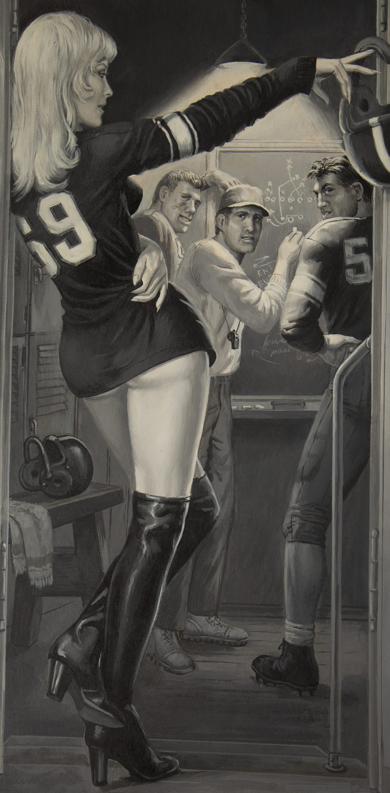 A detailed view of blonde pin-up girl in football jersey
