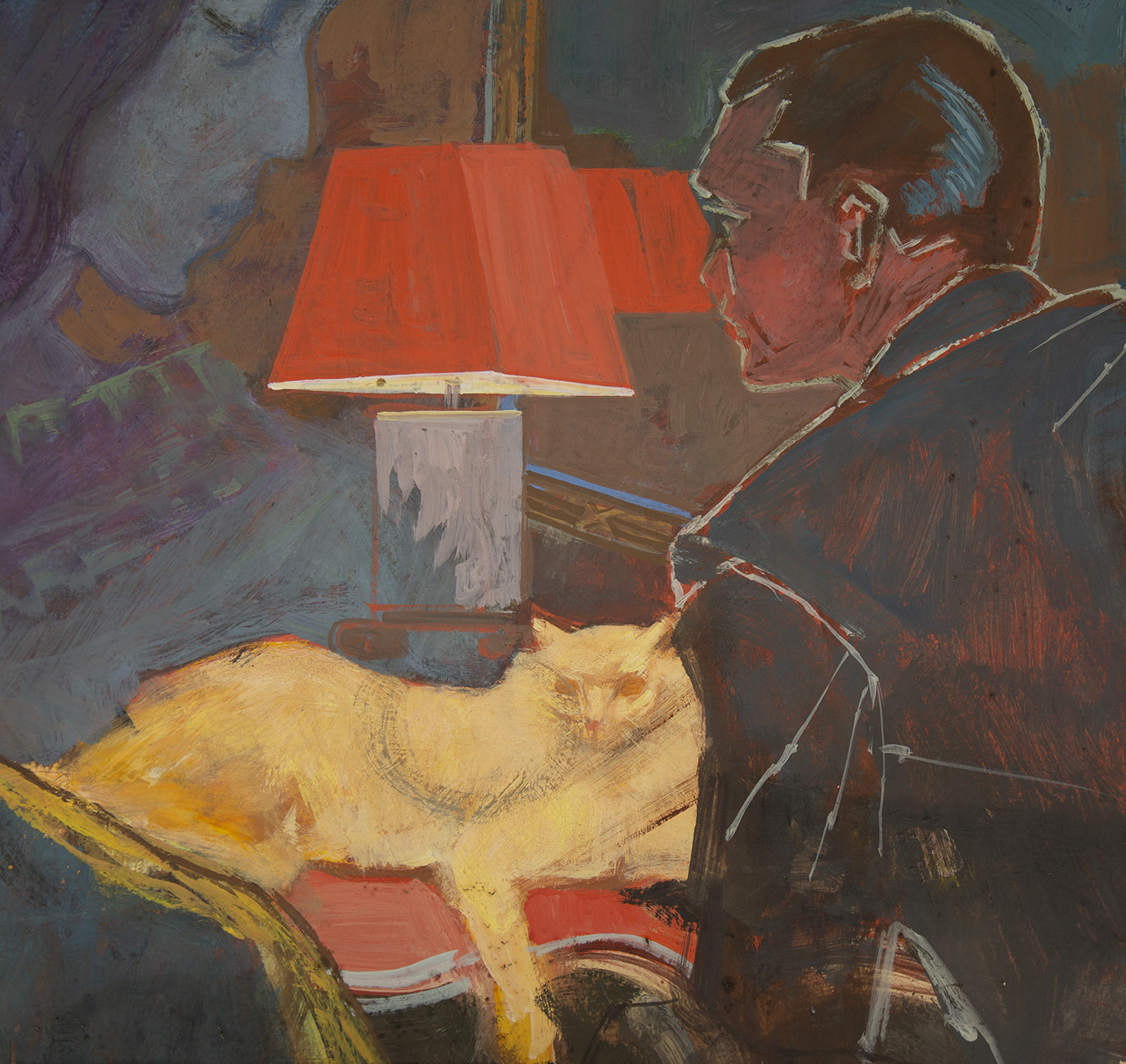 A cat lounging under lamplight while the profile of a man stares distractedly at the ephemeral figure of a woman in the background