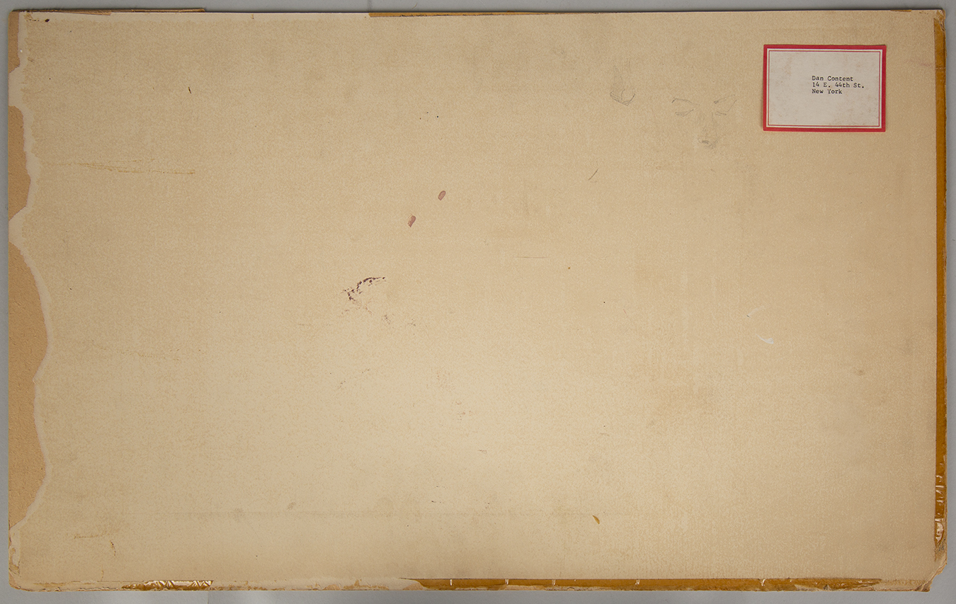 View of the back of the illustration board with artist's address label