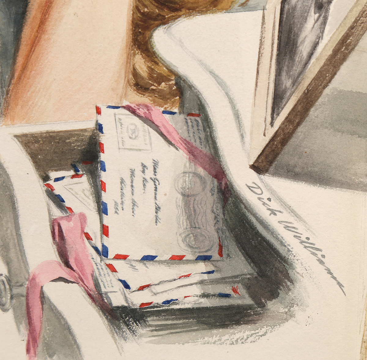 A close up view of the artist's signature as it appears in the lower right corner of the illustration.