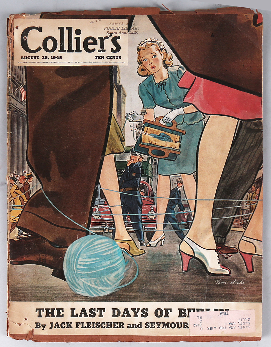 The cover of Collier's magazine, August 25, 1945. Included in sale.