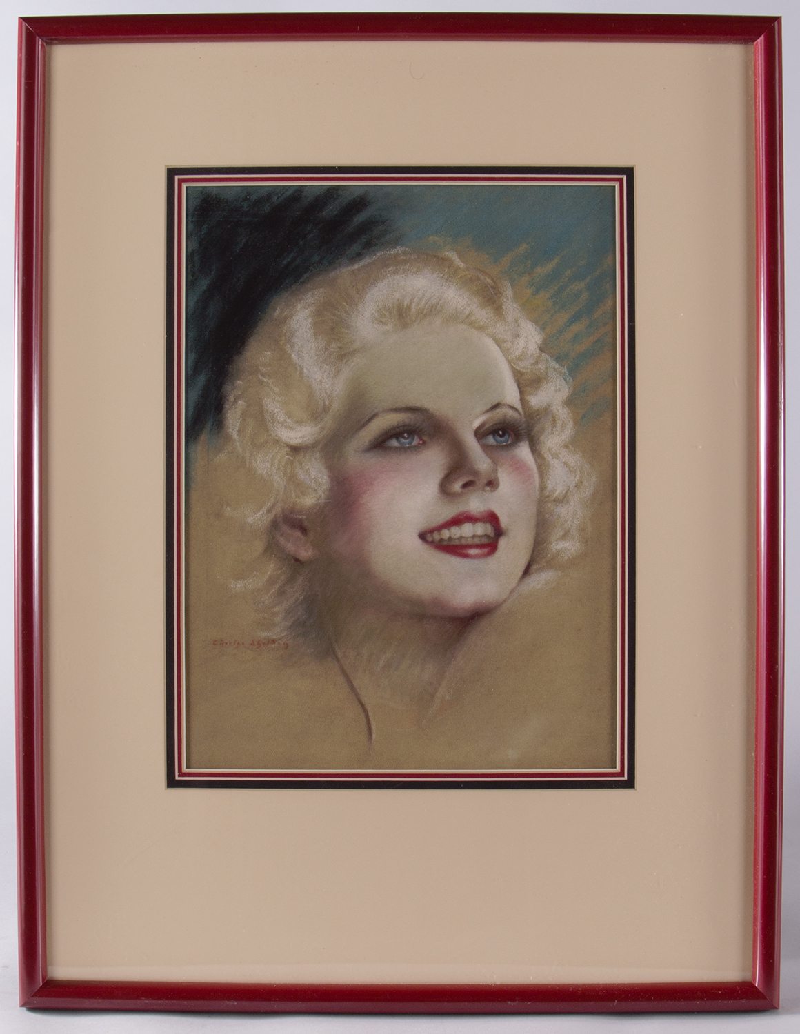 Pastel of Jean Harlow by Charles Sheldon in frame