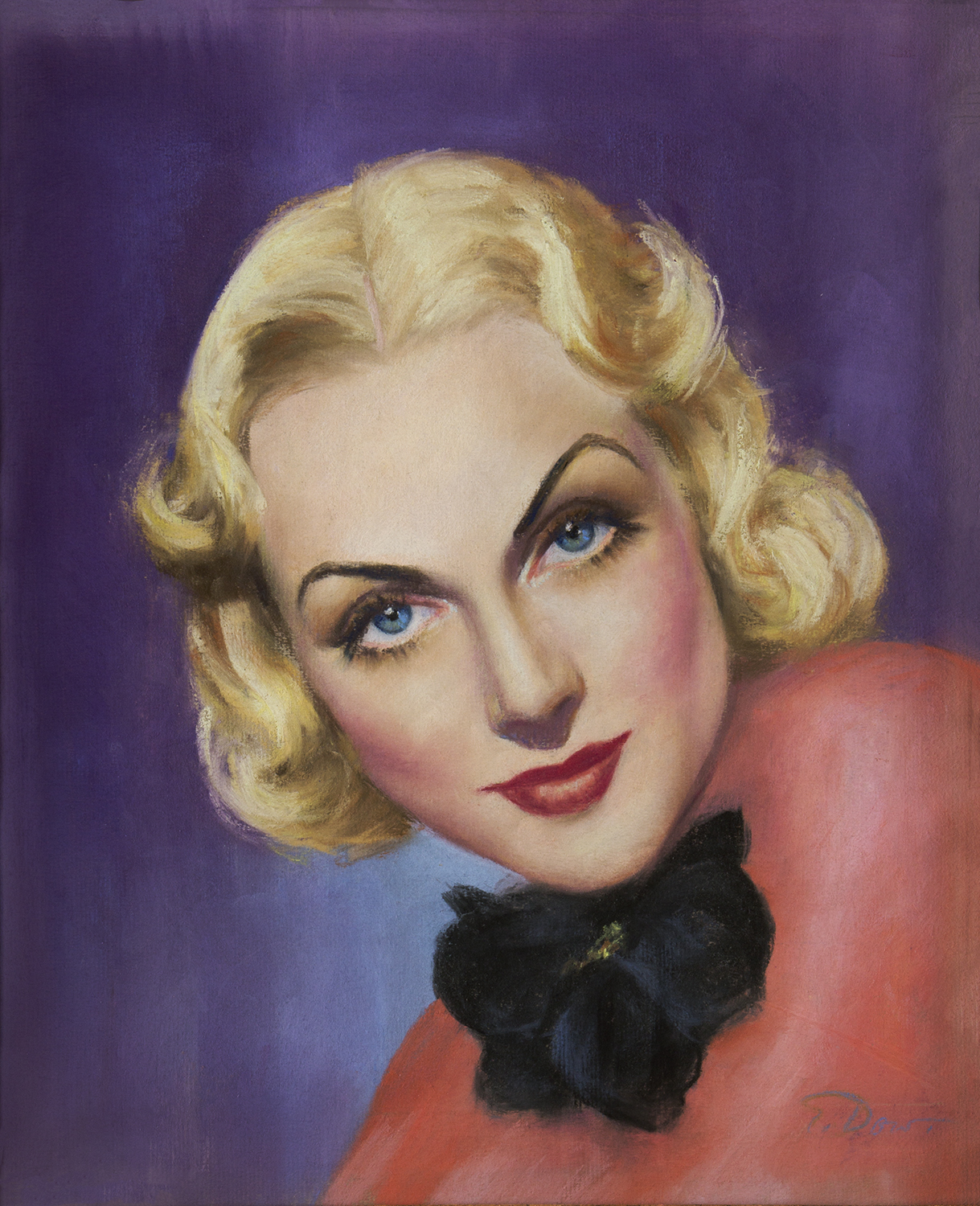 Carole Lombard illustration showing her in pink blouse with bow