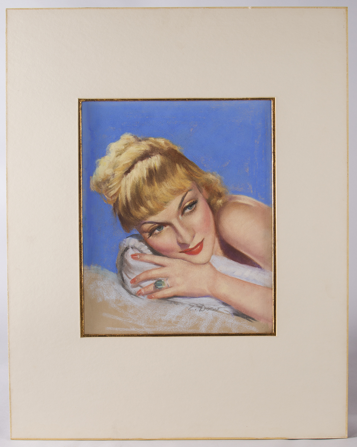 1933 pastel of Carole Lombard, matted
