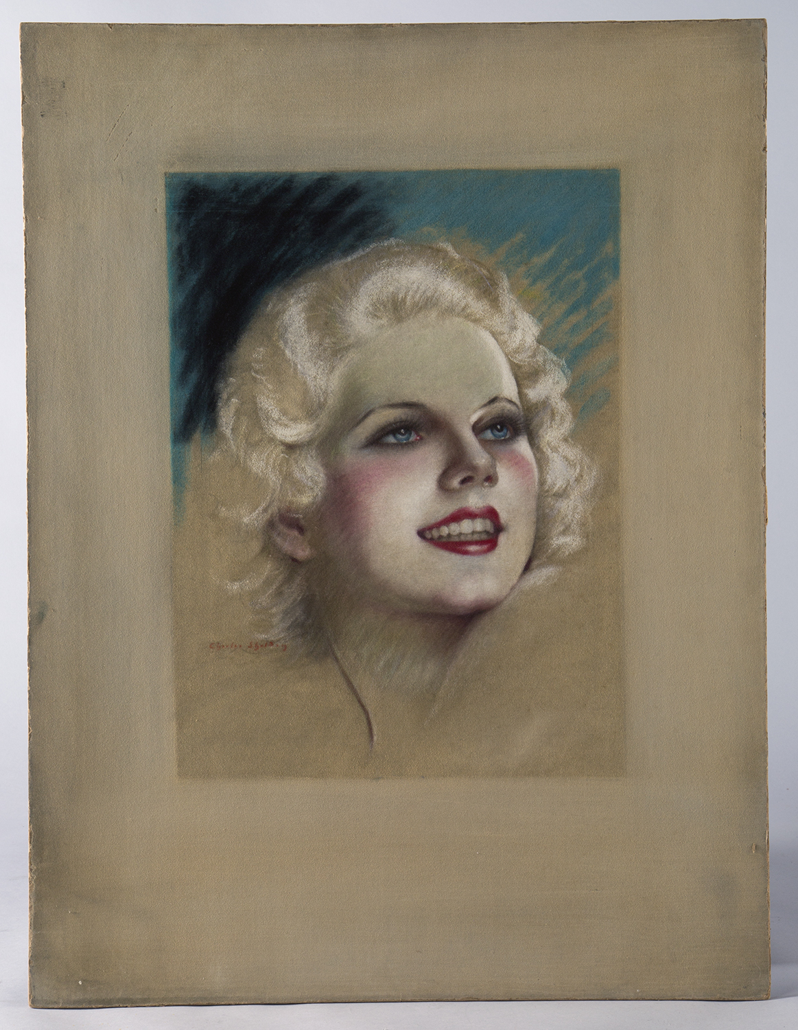 Pastel board with Jean Harlow pastel by Charles Sheldon