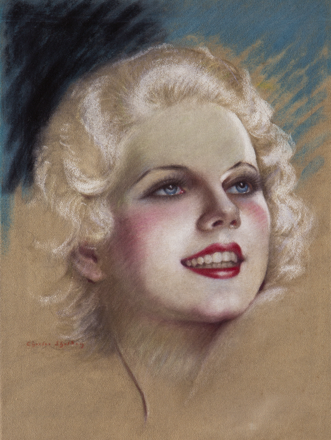 Pastel of Jean Harlow by Charles Shelodn