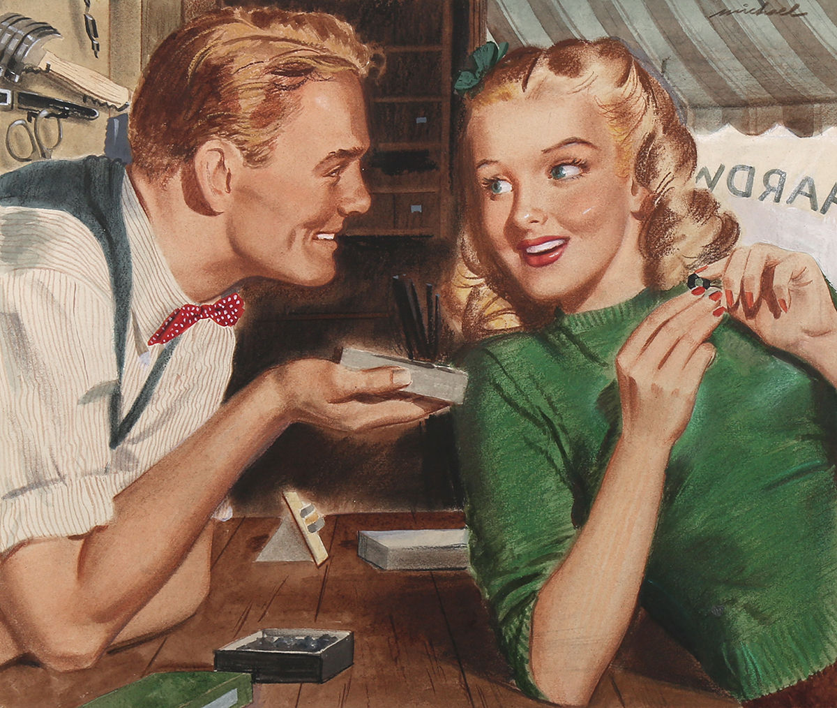 A full view of the illustration; shows a young, blonde hardware store clerk and a young, blonde customer flirting