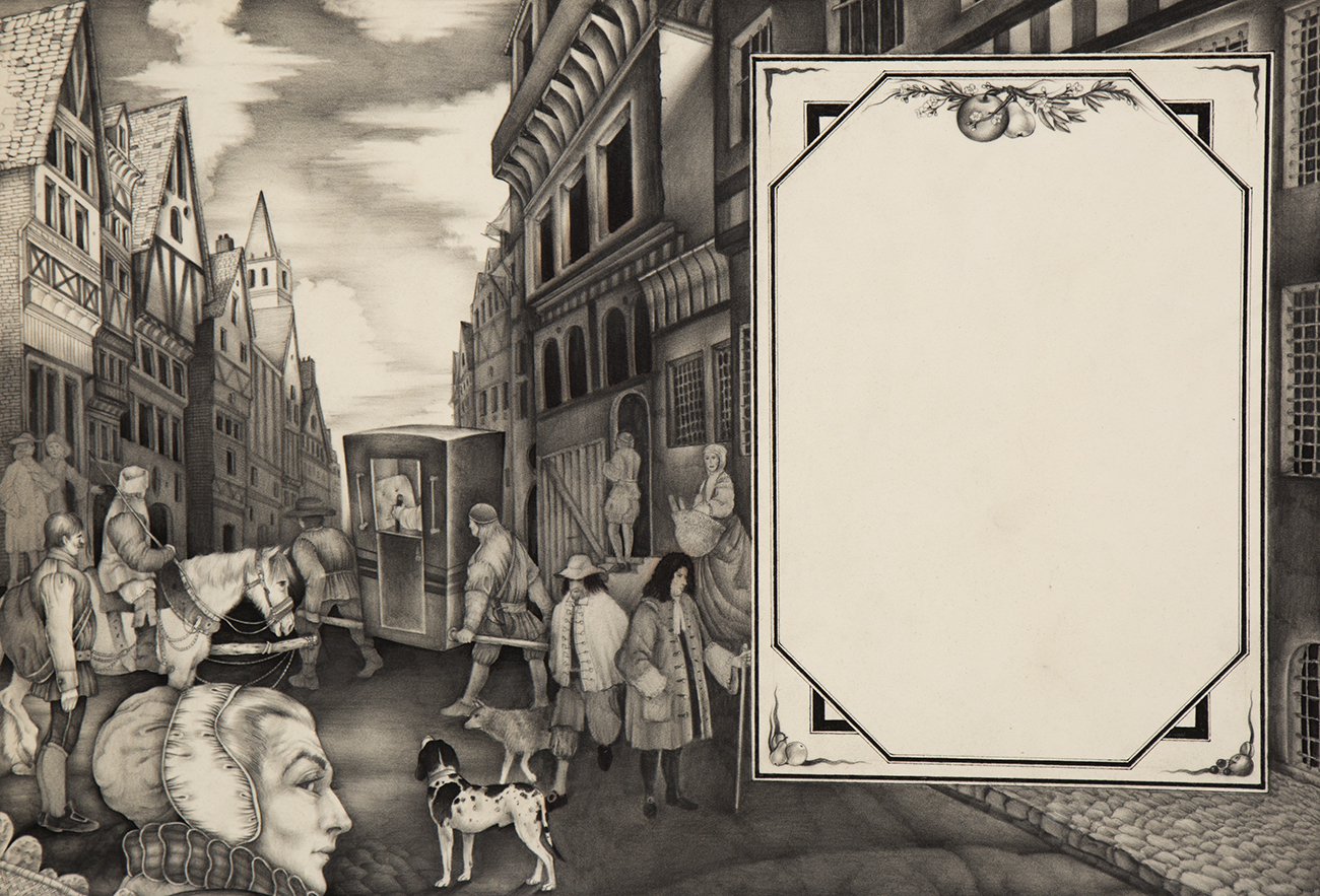 Full view of pen and ink illustration depicting an 18th century English street scene