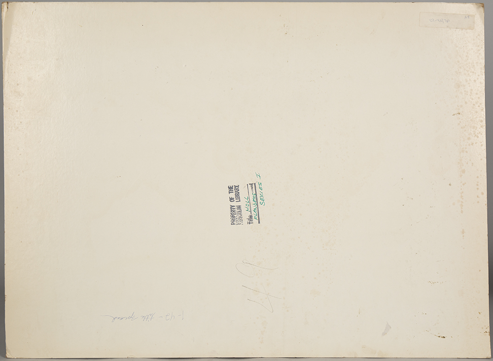 View of the back of the illustration board with publication notations