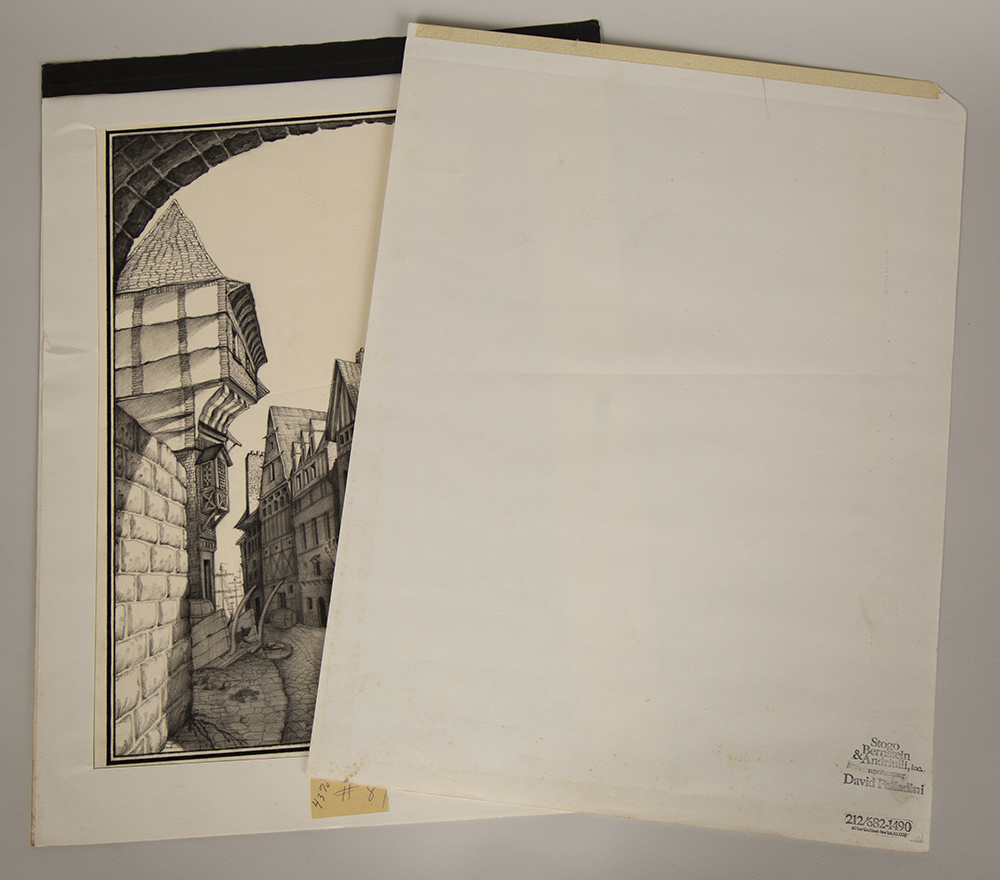 Illustration with its original paper overlay which features the artist's ink stamp