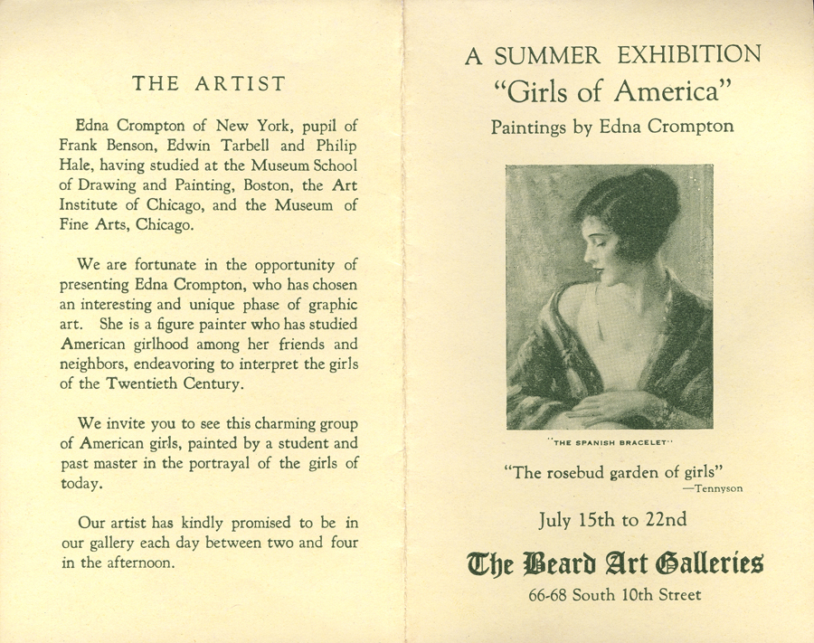 "The brochure from Crompton's show ""Girls of America"" (NOT INCLUDED IN SALE)"