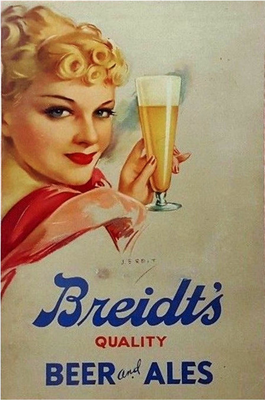 Breidt's Quality Beer and Ales advertising poster (NOT INCLUDED IN SALE)