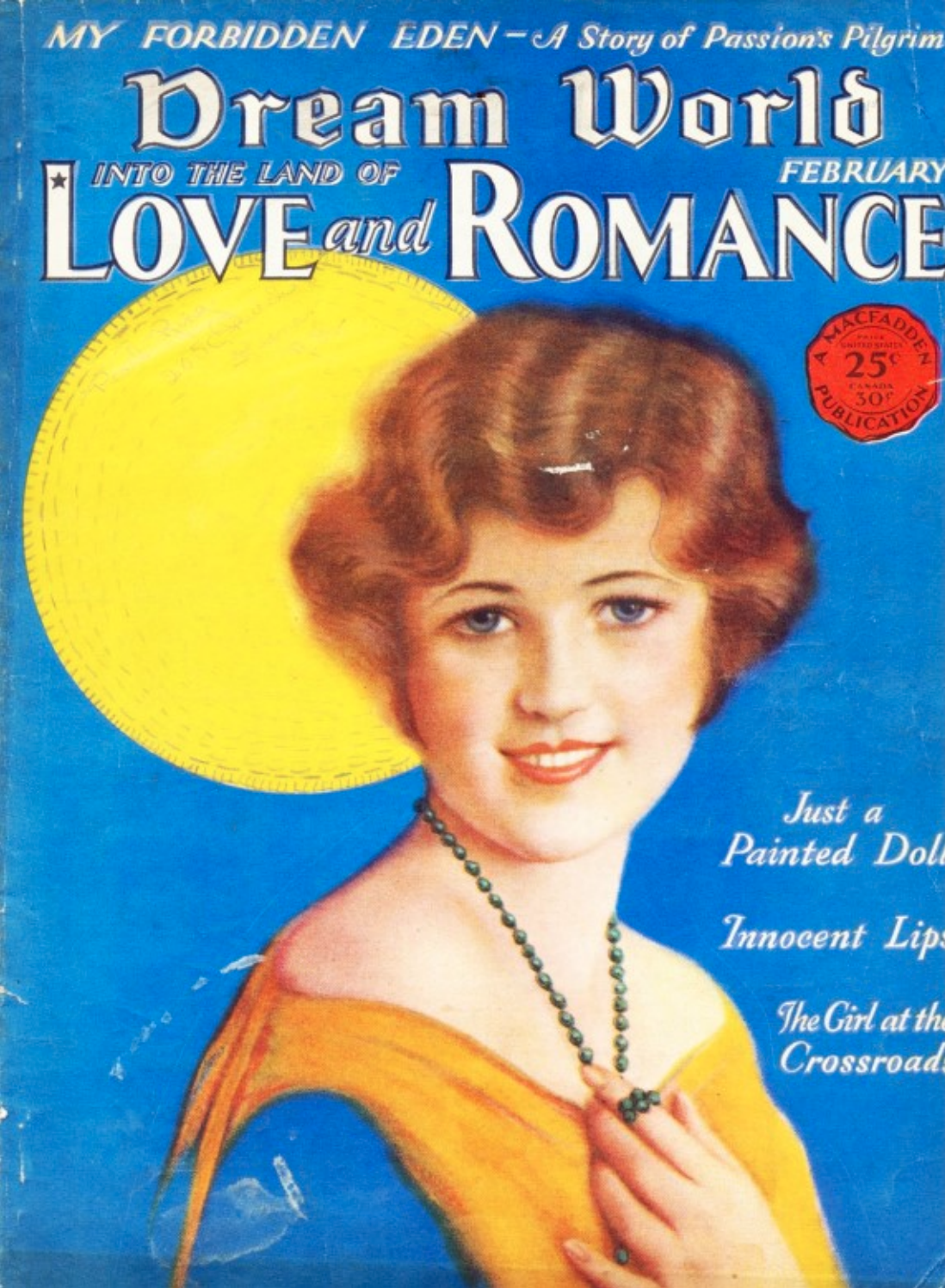 The painting as it appeared on the February 1930 cover of Dream World magazine (NOT INCLUDED IN SALE)