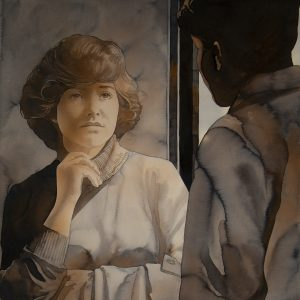 Cropped view of watercolor painting by Bob Dacey showing a young high school girl in conversation with a boy