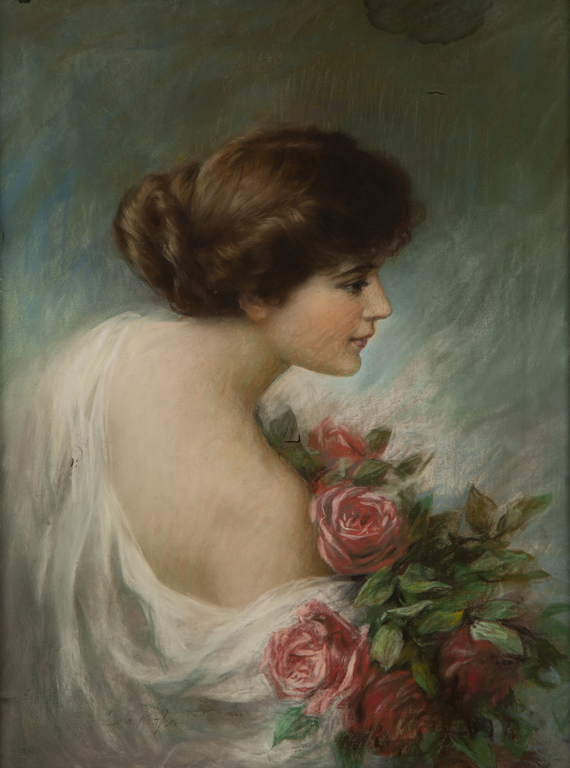 Full view of pastel on canvas illustration by Zula Kenyon featuring a brunette woman from the side and holding a bouquet of roses