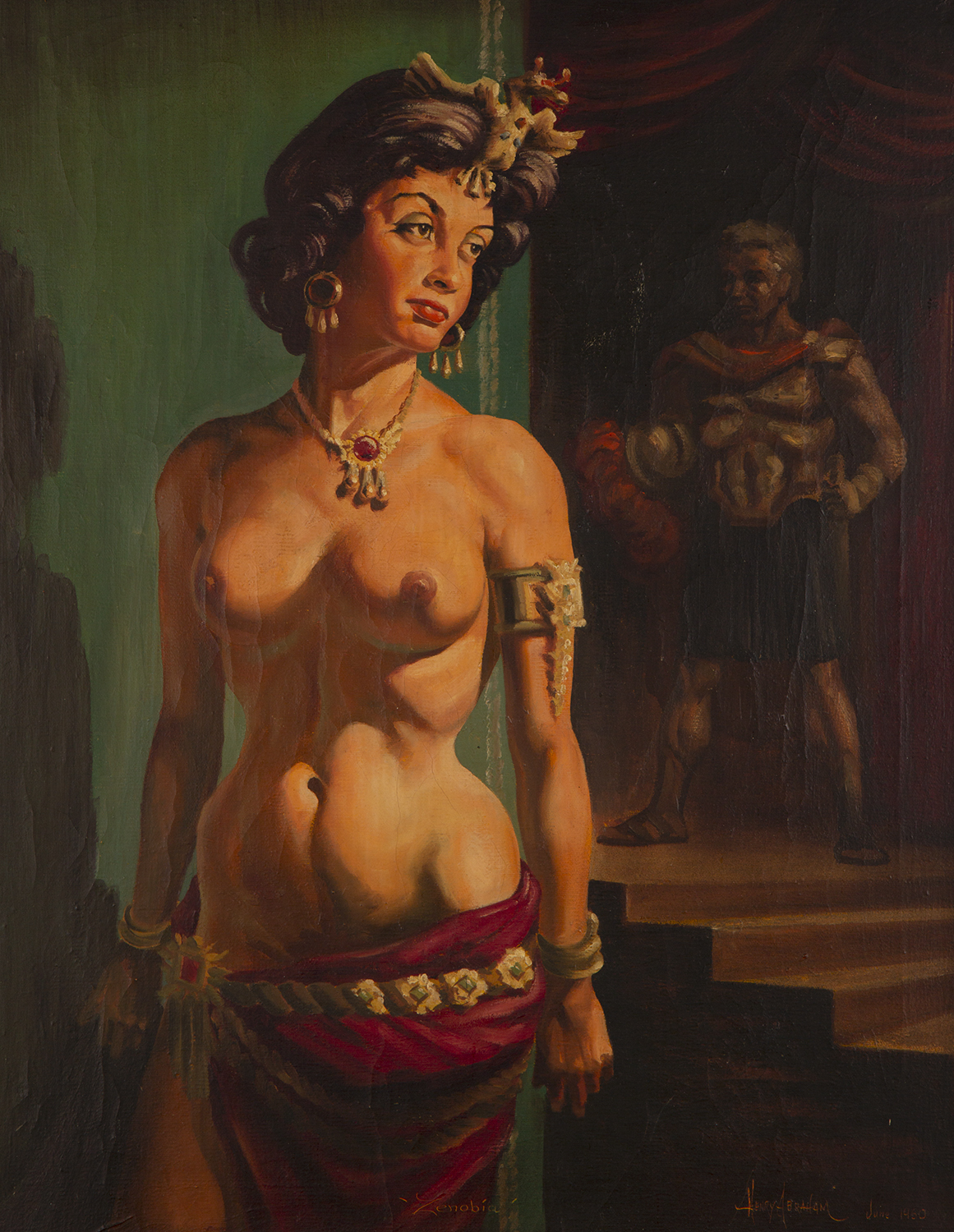 Painting of partially nude woman draped in gold jewelry