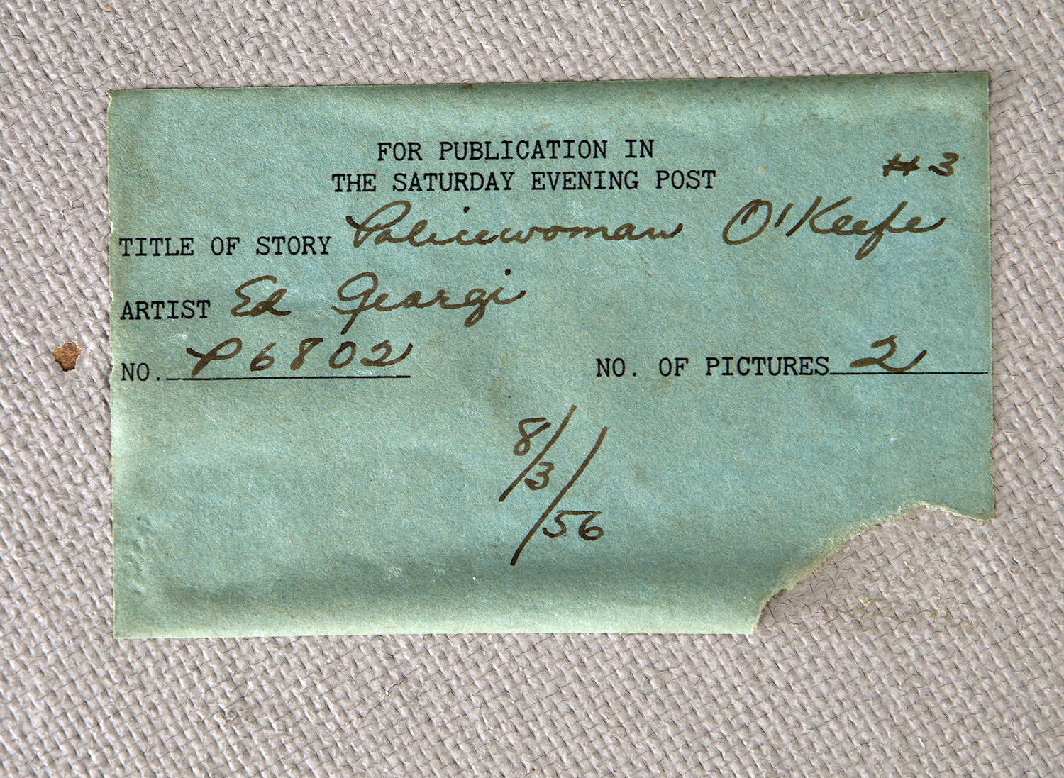 Detailed view of verso label from The Saturday Evening Post