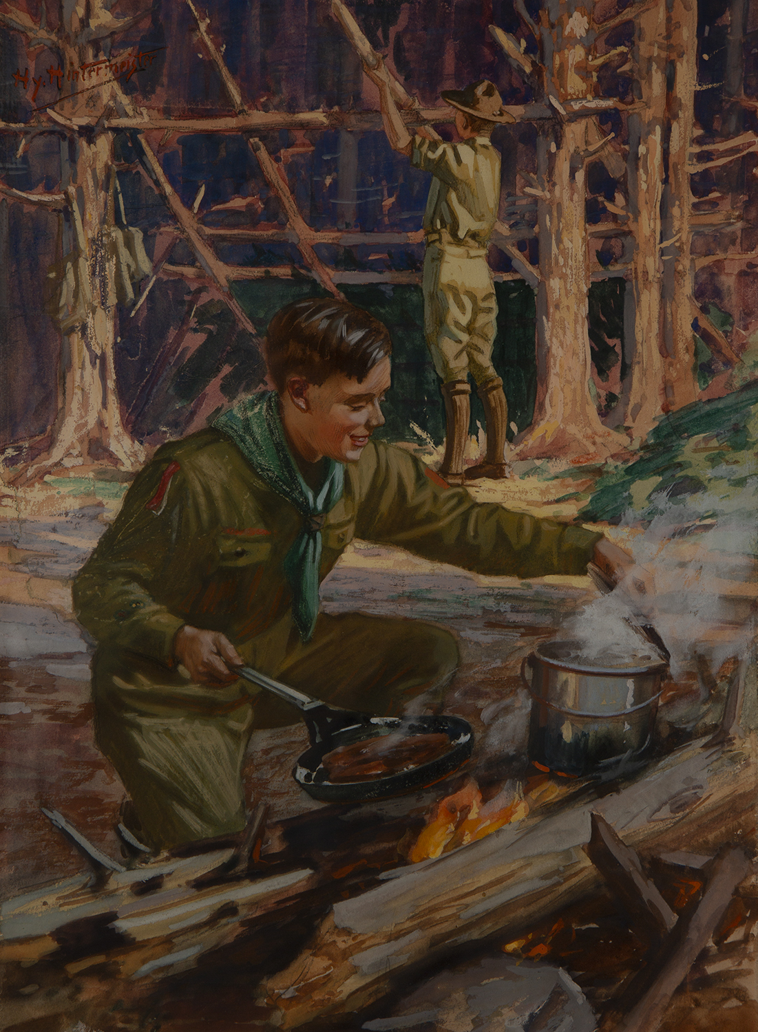 A Boy Scout camping over an open fire while another builds a shelter among the trees in the background