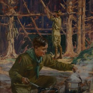 Boy Scouts camping scene by Hy Hintermeister