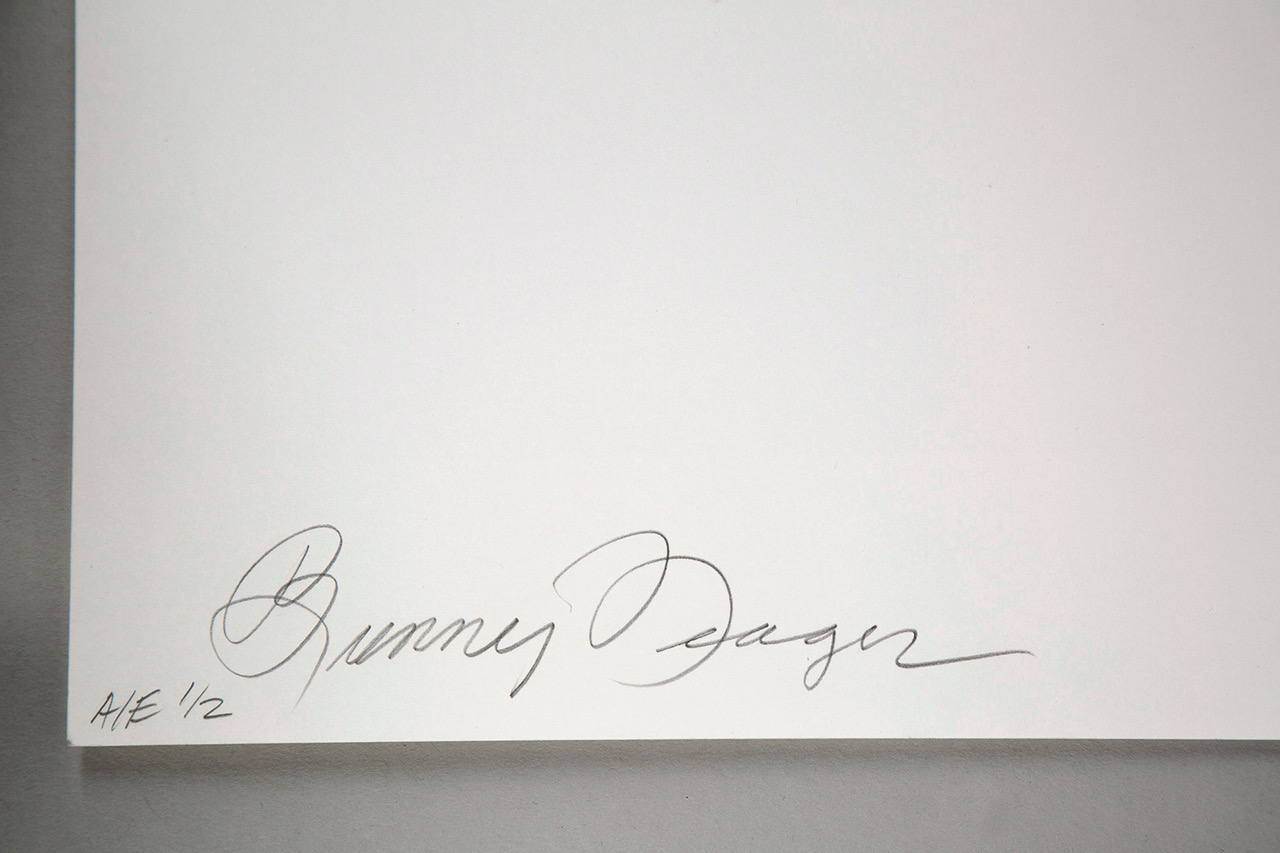 Bunny Yeager's signature and artist's edition notation on verso