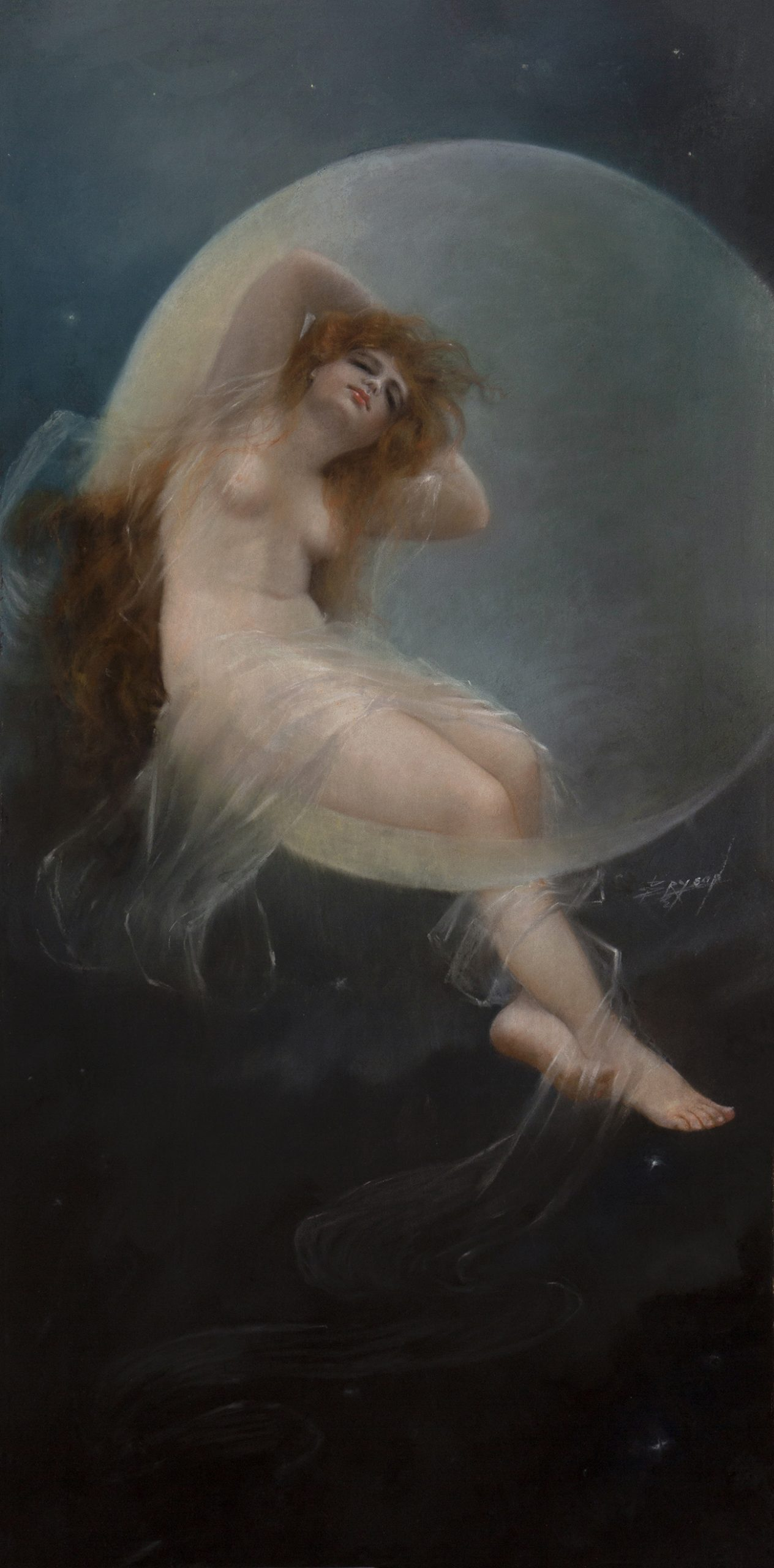 Nude Art Nouveau goddess seated on the edge of the moon