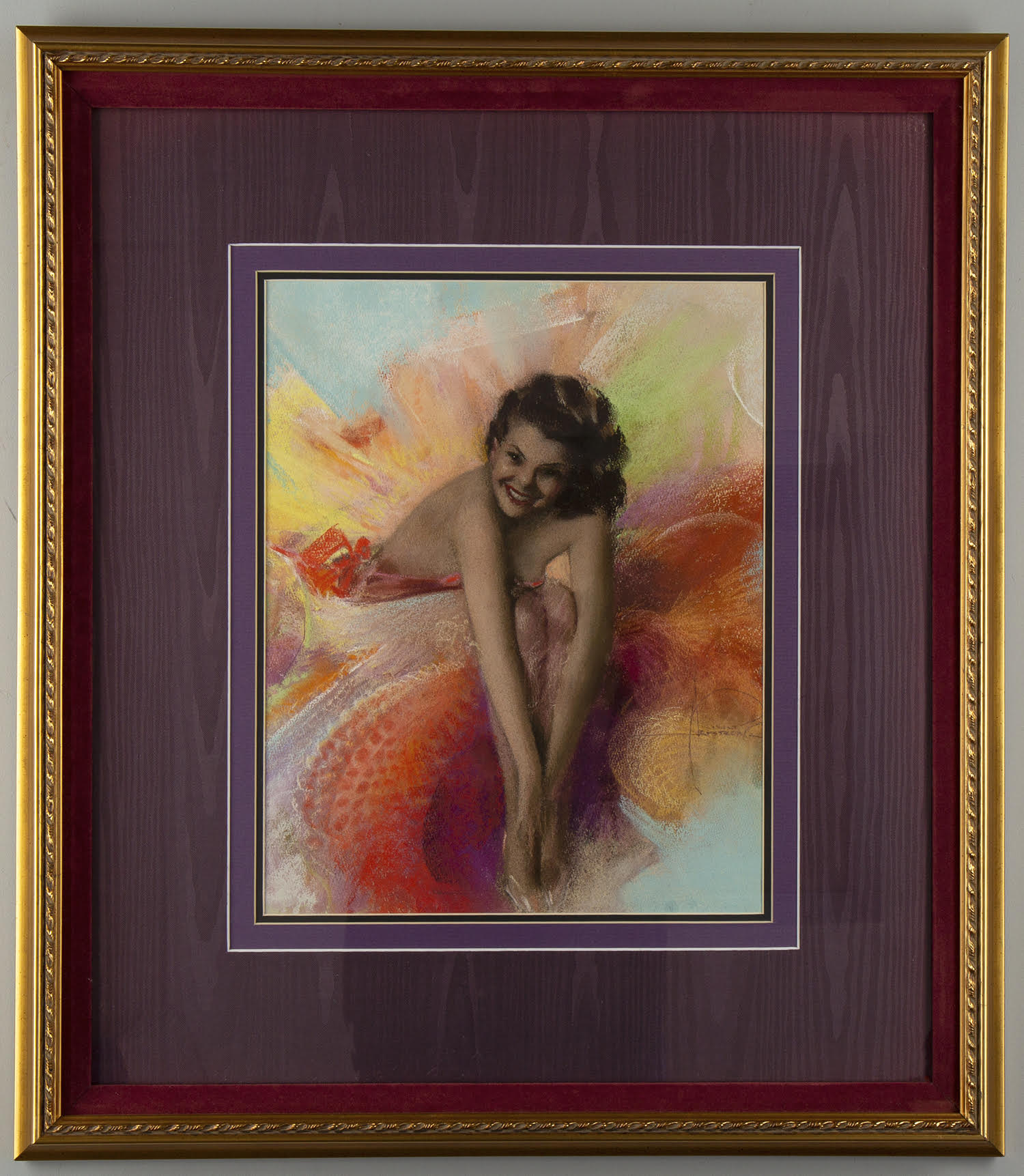 The pastel in a gold painted wood gesso frame with velvet line and purple double mat