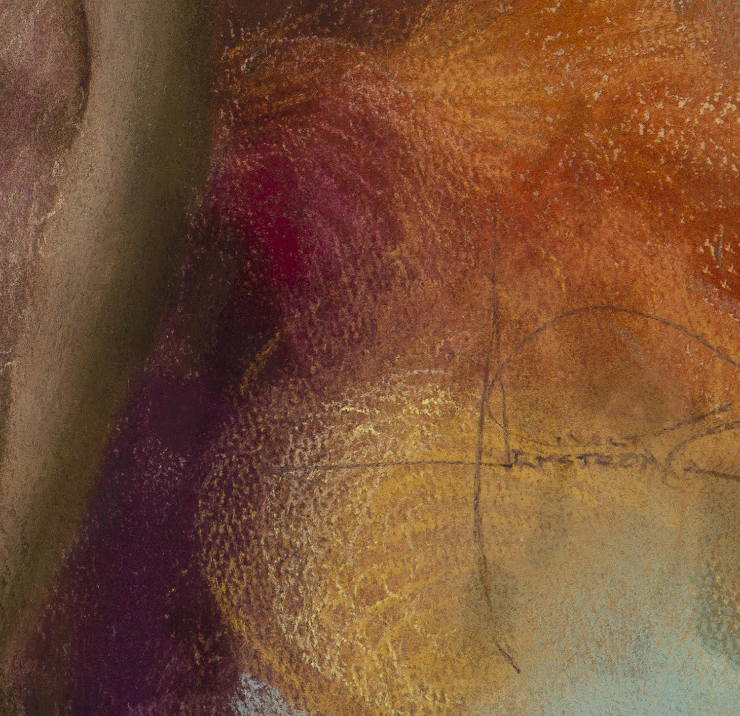 A close up shot of the artist's signature in the lower right of the pastel