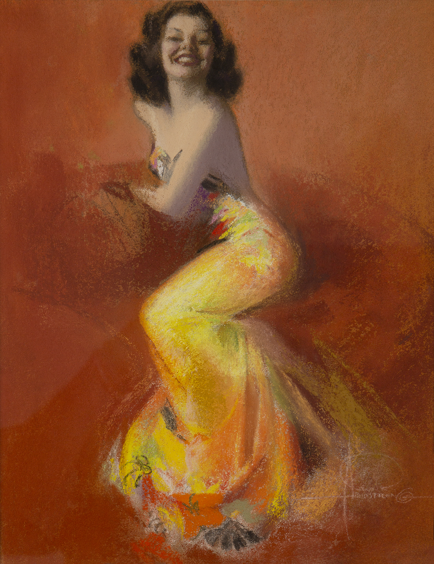 Pastel illustration of pin-up model Jewel Flowers in a yellow and orange gown, posed against a brown/orange background